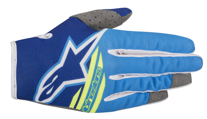 2018 Alpinestars Radar Flight Gloves Blue Aqua Flo Yellow