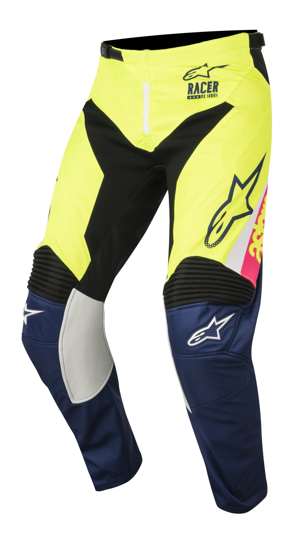 2018 Alpinestars Racer Supermatic Pants White Blue Flo Yellow