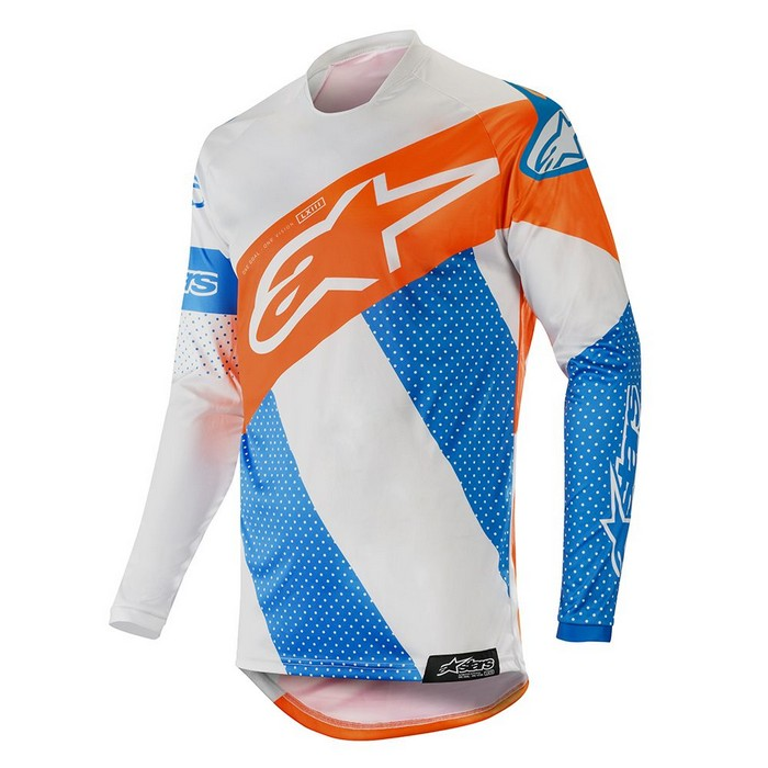 Kit Jersey Alpinestars Racer Tech Atomic - 2019- Cool Grey Mid Blue Orange Fluo XL - Extra Large
