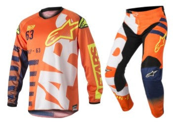 Kit Combo Alpinestars Racer Braap - 2018- Orange Blue White 28in S-Small