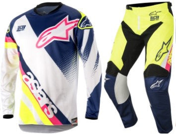 Kit Combo Alpinestars Racer Supermatic - 2018- White Blue Flo 28in S-Small