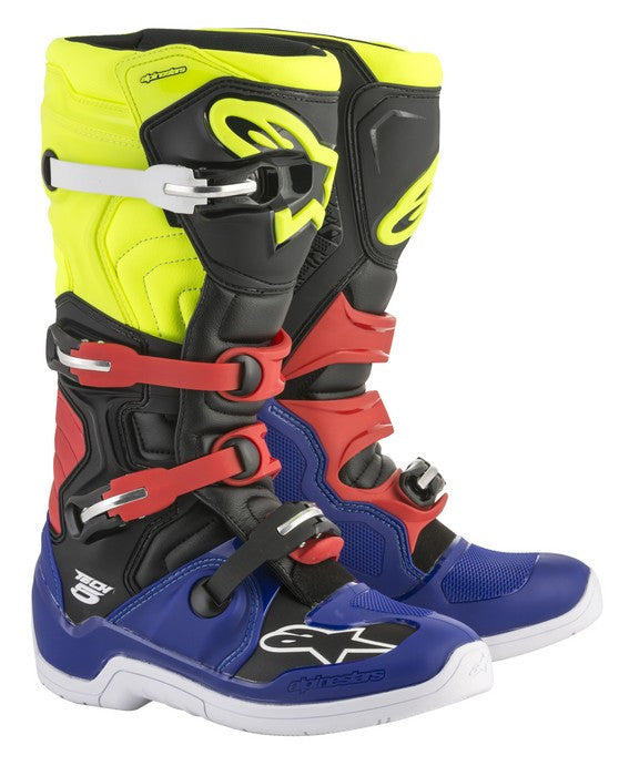 Kit Boot Alpinestars Tech 5 - 2018- Blue Black Flo Yellow Red UK 6