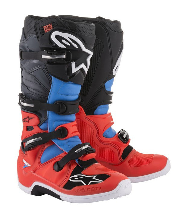 2018 Alpinestars Tech 7 Boot Red Flo Cyan Grey Black