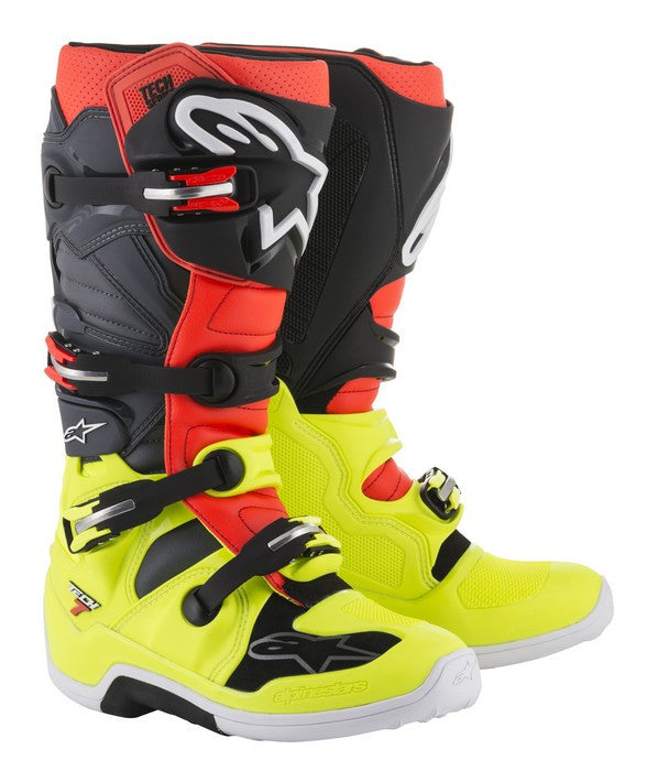 2018 Alpinestars Tech 7 Boot Yellow Flo Red Flo Grey Black