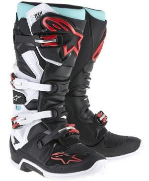 Alpinestars Tech 7 Boots - Black/White/Torqoise