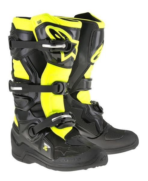 Alpinestars Tech 7S Youth Motocross Boots - Black/Flo Yellow