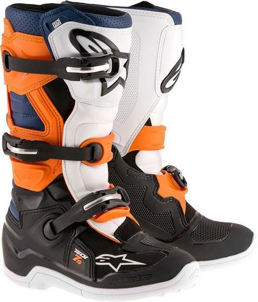 Alpinestars Tech 7S Youth Motocross Boots - Black/Orange/White/Blue