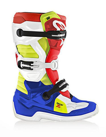 Alpinestars Youth Tech 7s Motocross MX Boots Blue, Red, White, Yellow