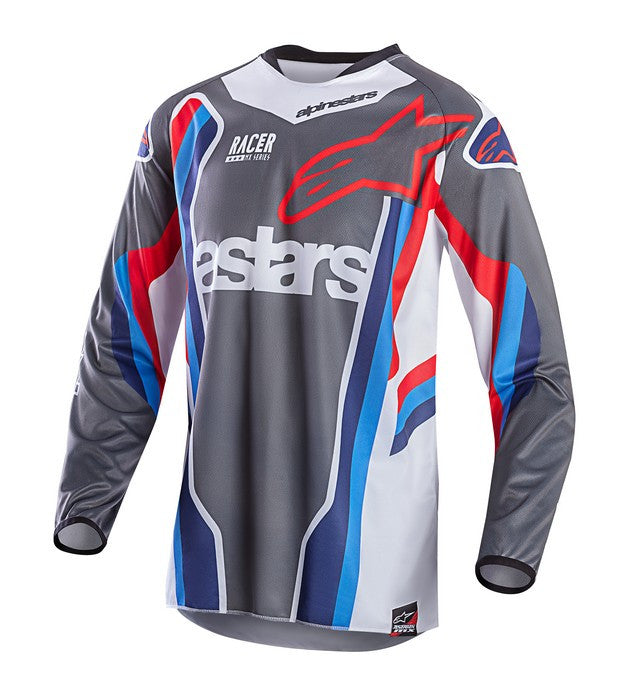 Kit Jersey Alpinestars Racer - 2017- Anthracite Aqua Red White Medium