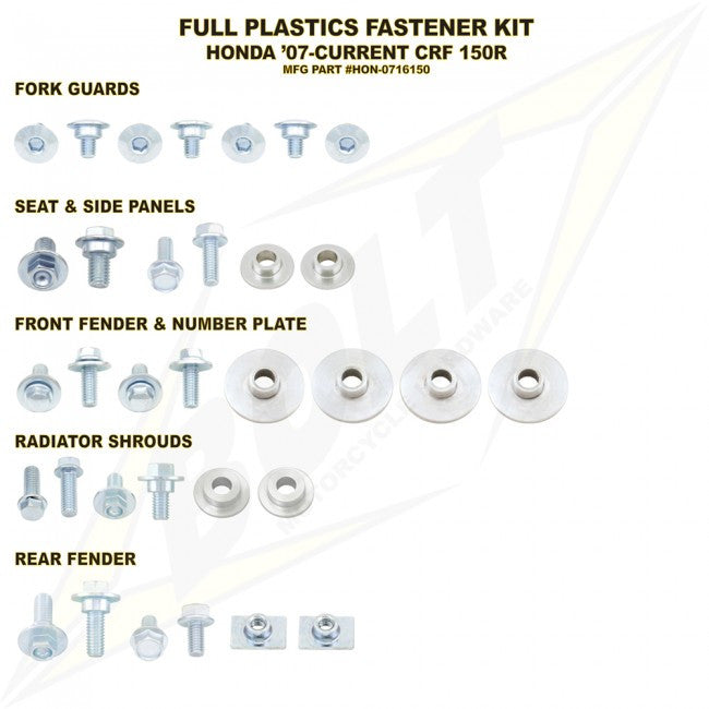 Workshop & Pits Fasteners Kit Bolt Hardware Full Plastics Fastener Kit KTM SX 65- 2002-2015