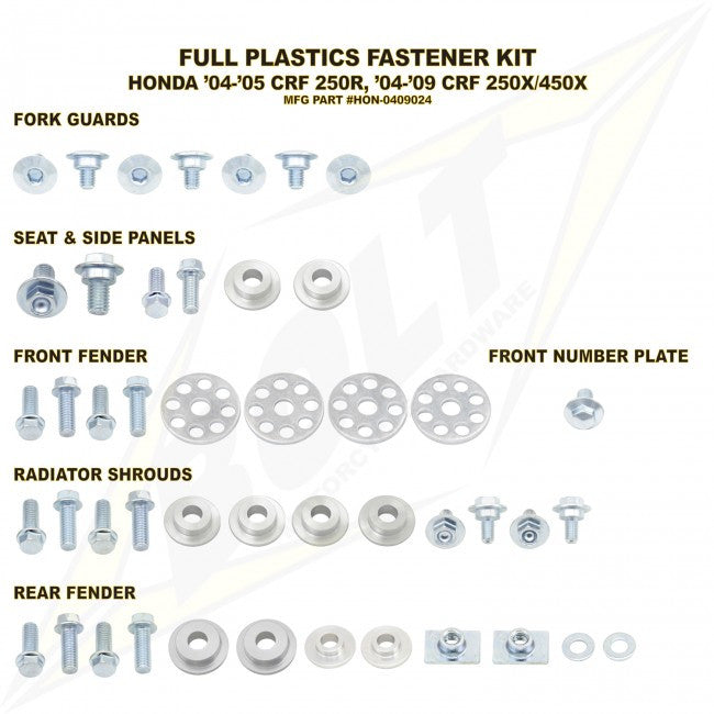 Workshop & Pits Fasteners Kit Bolt Hardware Full Plastics Fastener Kit KTM SX 65- 2016-2018