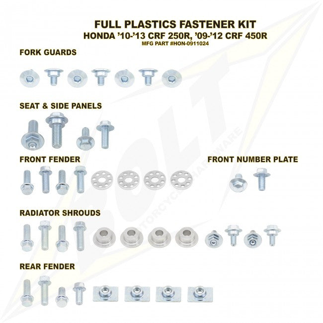 Workshop & Pits Fasteners Kit Bolt Hardware Full Plastics Fastener Kit KTM SX SXF - 2008-2010