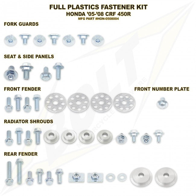 Workshop & Pits Fasteners Kit Bolt Hardware Full Plastics Fastener Kit Kawasaki KX 65- 2000-2017