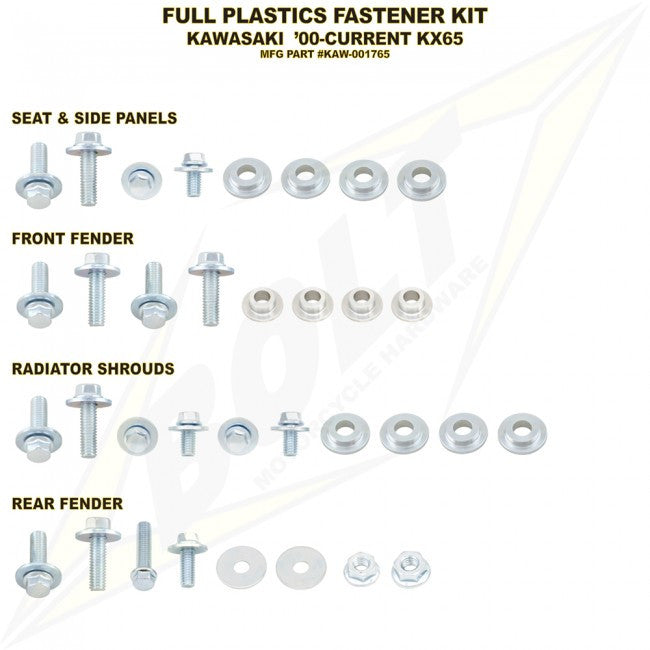Workshop & Pits Fasteners Kit Bolt Hardware Full Plastics Fastener Kit Suzuki RMZ 250- 2007-2009