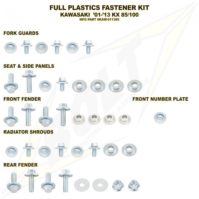 Workshop & Pits Fasteners Kit Bolt Hardware Full Plastics Fastener Kit Suzuki RMZ -450 2005-2007
