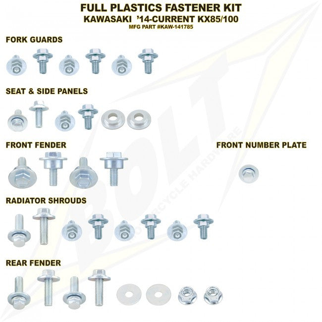 Workshop & Pits Fasteners Kit Bolt Hardware Full Plastics Fastener Kit Suzuki RMZ 250-450 2010-2014