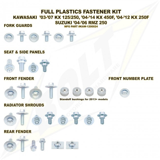 Workshop & Pits Fasteners Kit Bolt Hardware Full Plastics Fastener Kit Kawasaki KX 85- 2001-2013