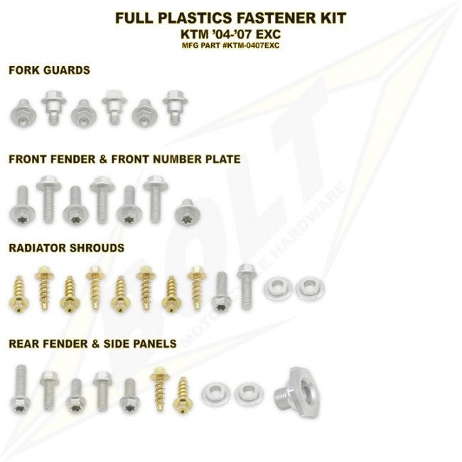 Workshop & Pits Fasteners Kit Bolt Hardware Full Plastics Fastener Kit Honda CRF 150- 2007-2017