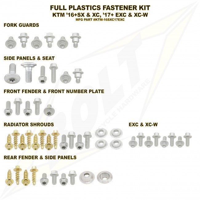 Workshop & Pits Fasteners Kit Bolt Hardware Full Plastics Fastener Kit Yamaha YZF 250-450 2006-2009