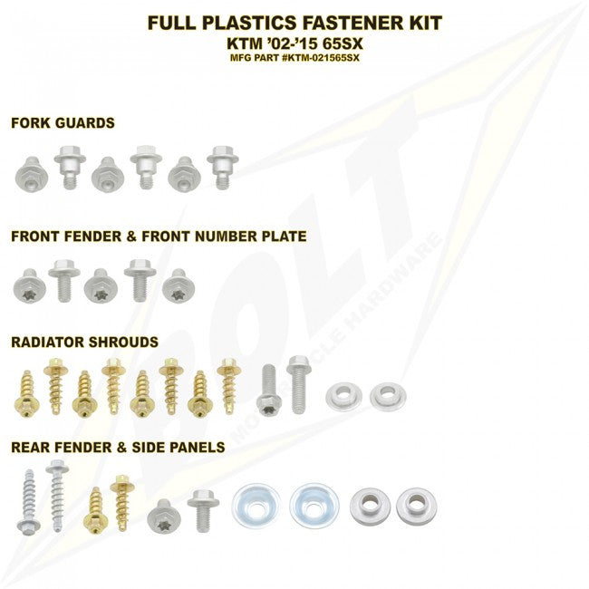 Workshop & Pits Fasteners Kit Bolt Hardware Full Plastics Fastener Kit Yamaha YZ 85- 2002-2017