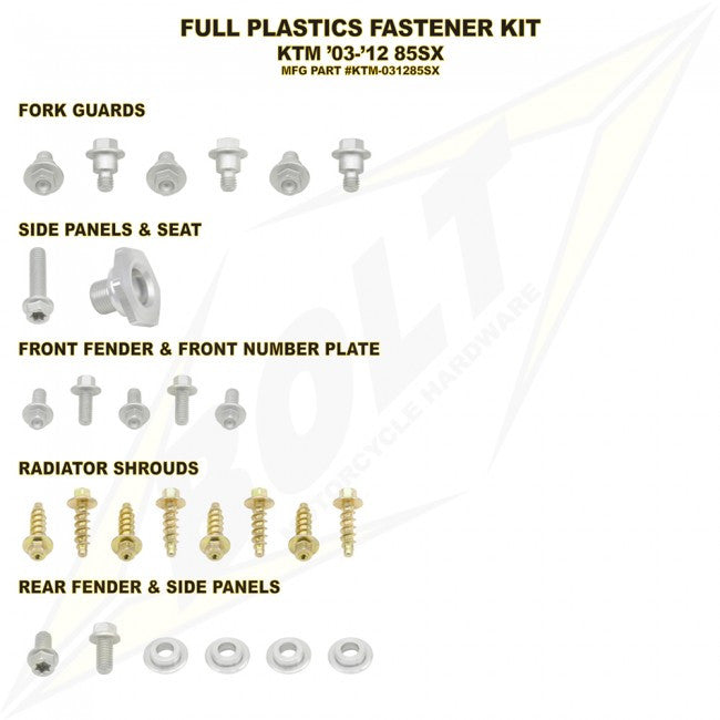 Workshop & Pits Fasteners Kit Bolt Hardware Full Plastics Fastener Kit Yamaha YZF 250-450 2003-2005