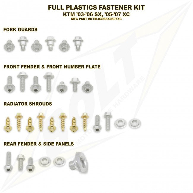 Workshop & Pits Fasteners Kit Bolt Hardware Full Plastics Fastener Kit Honda CRF 250- 2006-2009