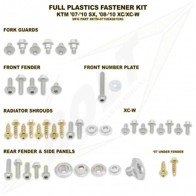 Workshop & Pits Fasteners Kit Bolt Hardware Full Plastics Fastener Kit Honda CRF 450- 2005-2008