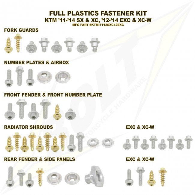 Workshop & Pits Fasteners Kit Bolt Hardware Full Plastics Fastener Kit Honda CRF 250-450 2009-2013