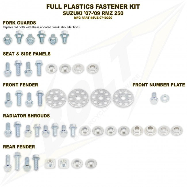Workshop & Pits Fasteners Kit Bolt Hardware Full Plastics Fastener Kit Yamaha YZF 450- 2010-2013