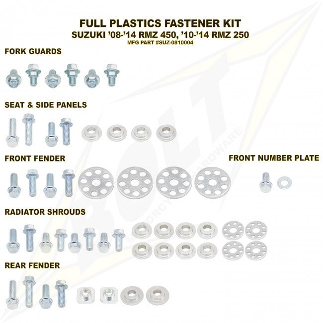 Workshop & Pits Fasteners Kit Bolt Hardware Full Plastics Fastener Kit Yamaha YZF 250-450 2014-2017