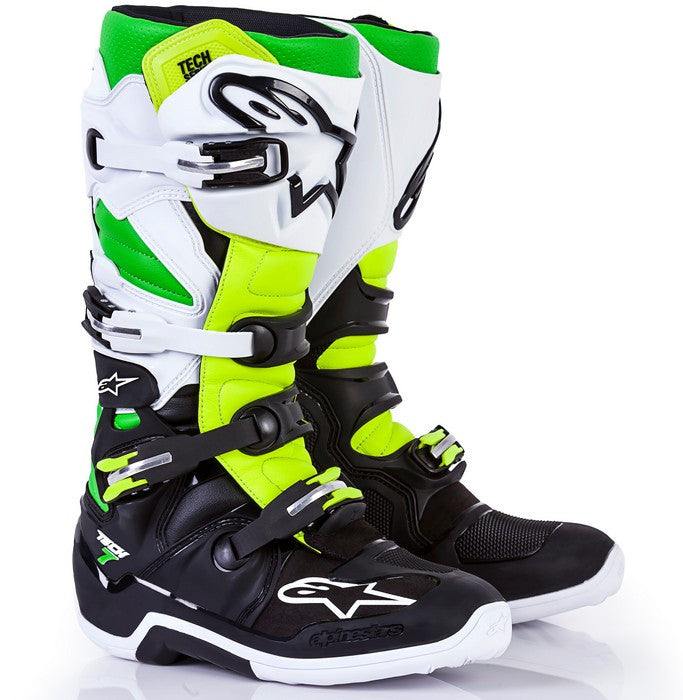 Alpinestars Tech 7 LE Vegas Motocross Boots - Black/White/Green/Flo Yellow