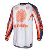 Kit Jersey Alpinestars Racer Indy - 2017- White Flo Orange Blue Dark Medium
