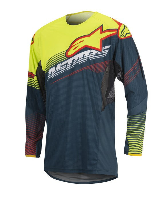 Alpinestars 2017 Techstar Factory Jersey Petrol Yellow Flo Red
