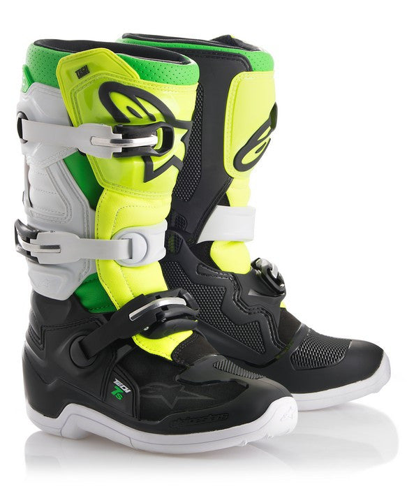 2018 Alpinestars Tech 7S Youth Boot LE Prodigy Black White Green Flo Yellow