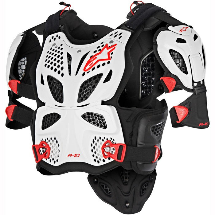 A10 Full Chest Protector - White/Black/Red