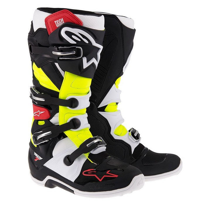 Alpinestars Tech 7 Motocross Boots - Black/Red/Yellow Flo