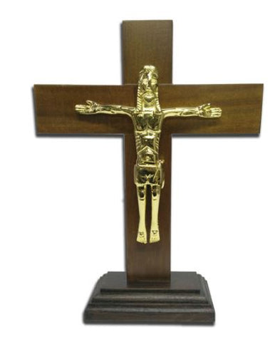 Wooden table cross with Christ in golden brass