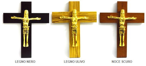 Wall cross in wood with Christ in golden brass