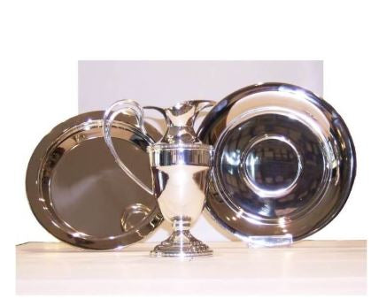 Washbasin set in nickel-plated brass