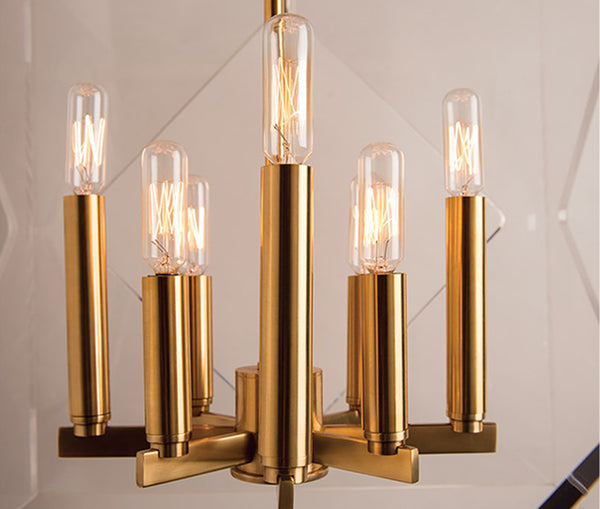 Travis aged brass 8 light pendant