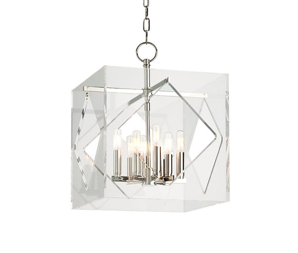 Travis polished nickel 8 light pendant