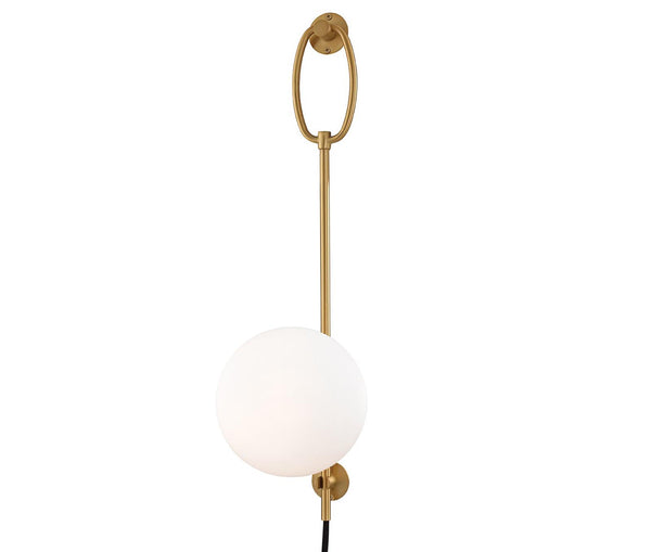 Gina Aged Brass 1 Light Wall Sconce With Plug