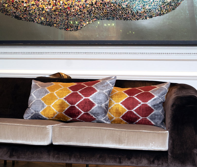 Honeysuckle Schrub Velvet Cushion Double Sided Ikat