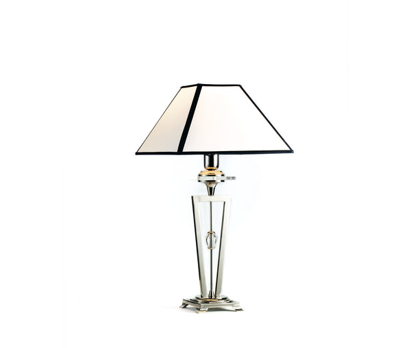 Table lamp with ivory square lampshade