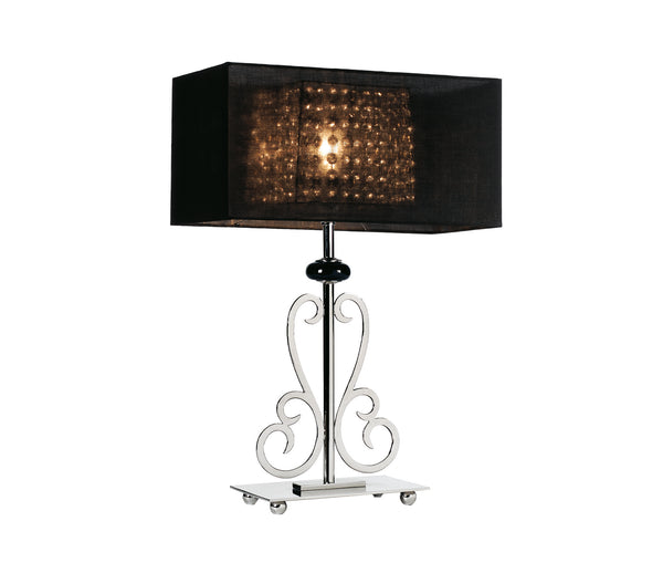 Table lamp with double rectangular lampshade