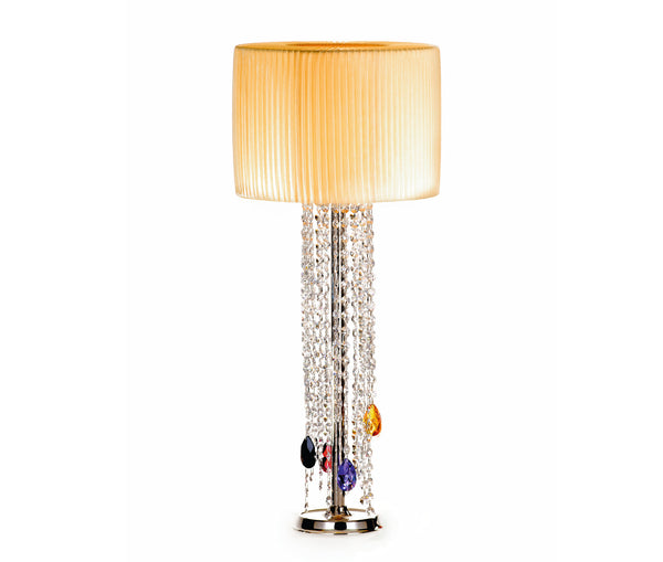 Table lamp with cylindrical lampshade and crystal pendants
