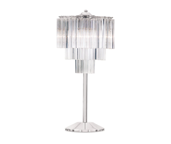 Table lamp with transparent triedri Murano glass