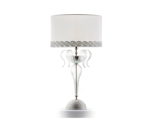 Table Lamp in Murano glass with brass elements inlaid