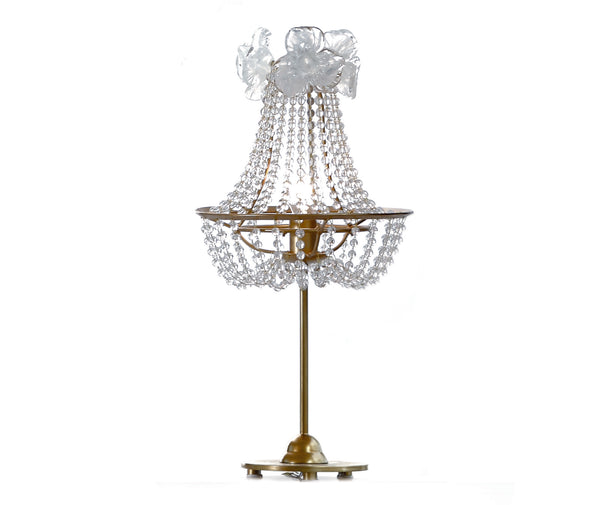 Table Lamp with hand-made pearls and flowers