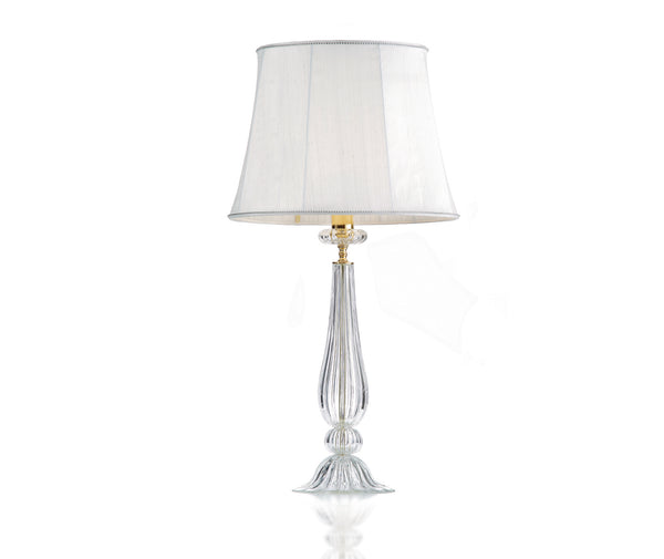 Table lamp in double fabric with crystal trimming